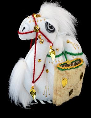 Верблюд большой из войлока с корзинами