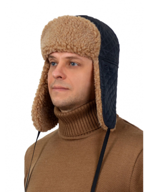 Шапка-ушанка стеганая с меховым подкладом из верблюжьей шерсти