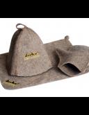 Банный набор из грубого верблюжьего войлока (коврик, шапочка, варежка)